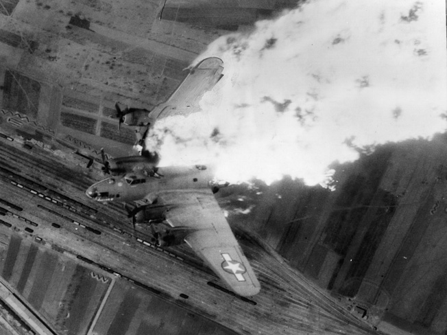 No one escaped from this flaming B-17 shot down over the rail yards at Nis, Yugoslavia, April 25, 1944.