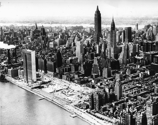 This aerial view of Manhattan shows how the Empire State Building dominated the skyline during the 1940s.