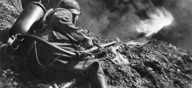 "Commercially produced Feldpost postcard from the series ""Der West- front-Illustrierten"" showing a flamethrower in action."