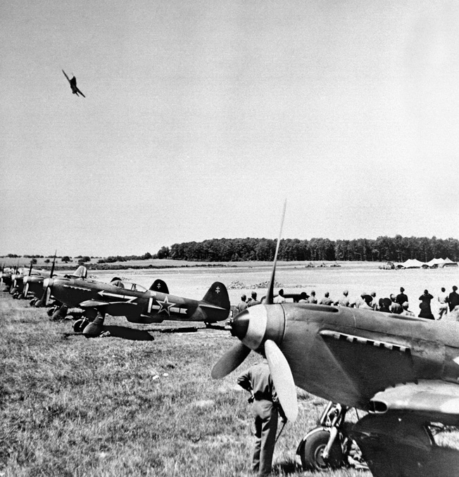 Normandie-Neiman Yak-3s lined up at an airfield near the Nieman River in eastern Poland as part of the Soviet counteroffensive, July 1944.