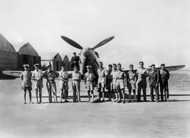 After defecting from Vichy France, some French aviators escaped to the Middle East and then went on to Russia. Here a group of French pilots is shown in Lebanon in 1942.