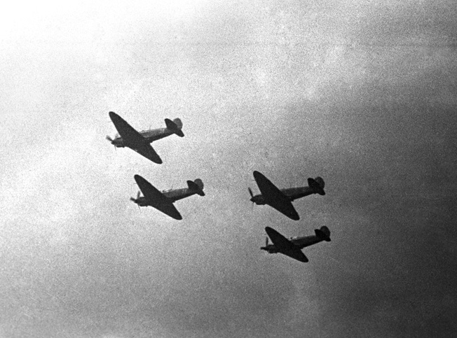 A formation of Normandie-Neiman fighters heads off on a mission in the skies over the Soviet Union.