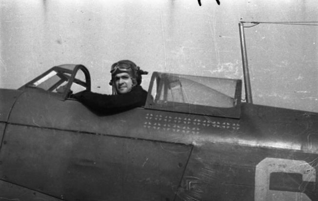 Marcel Albert, shown in a Yak-9, was France's top fighter pilot ace on the Russian Front, shooting down 24 German fighters.