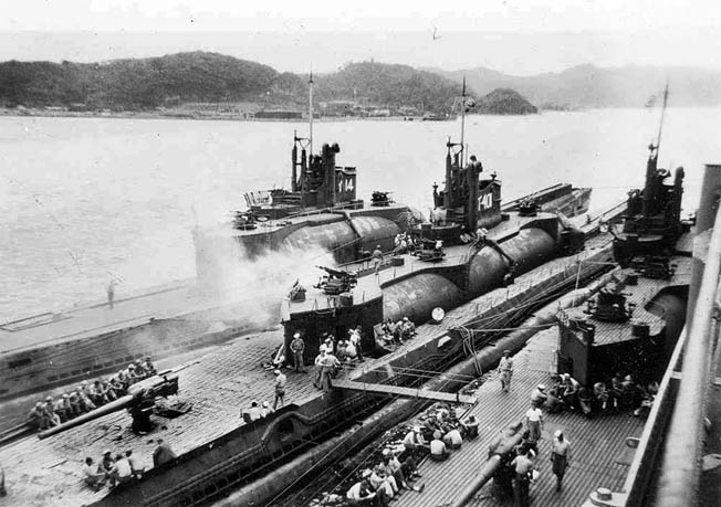 The I-14, I-401, and I-400 photographed in Tokyo Bay at war's end. They were later sunk in Hawaiian waters during torpedo tests by the U.S. Navy.