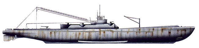 An illustration of a 400-series submarine. They were 400 feet long–88 feet longer than a Balao-class American submarine. An onboard crane was used to retrieve the floatplanes.