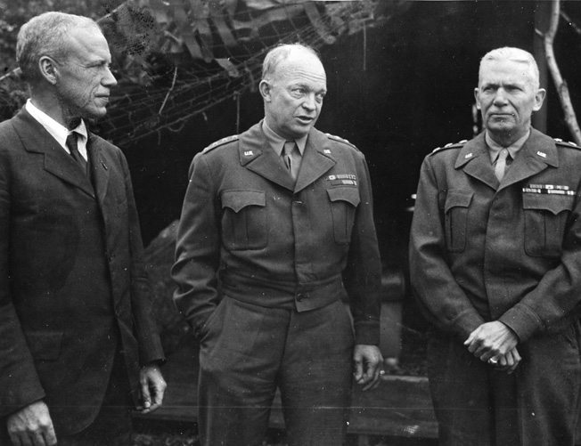 Ike with his Operation Overlord logistics expert, Lt. Gen. Brehon Somervell, head of the Army Service Forces and builder of the Pentagon.