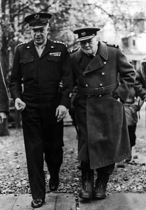 Eisenhower and British Prime Minister Winston S. Churchill confer in France, summer 1944.