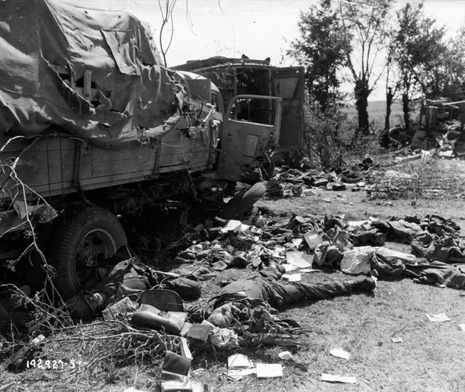 This photo of bodies and blasted equipment grimly illustrates the fate of thousands of Germans who were unable to escape the killing zone near Chambois.