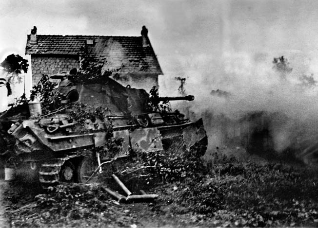 A German panzer somewhere in northern France tries to hold off the advancing Allied armies. But a British-American squabble allowed tens of thousands of German troops to escape through the Falaise Gap and protracted the war. INSET: A picture of postwar harmony: Eisenhower, Montgomery, and Bradley address troops in 1946.