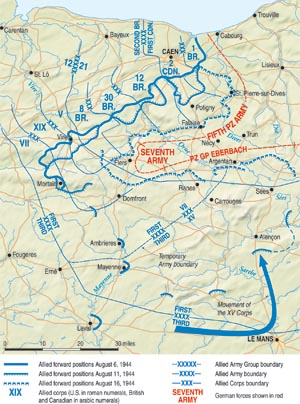 The Germans had to pass through a 10-mile-wide corridor to escape the Falaise Pocket. Those who were unable to escape were either killed or captured.