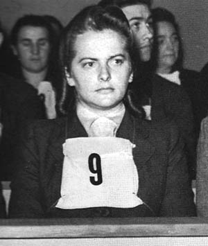 "Irma Grese, the ""beautiful beast,"" did her best to appear cool and aloof during the trial. She was hanged on December 13, 1945."
