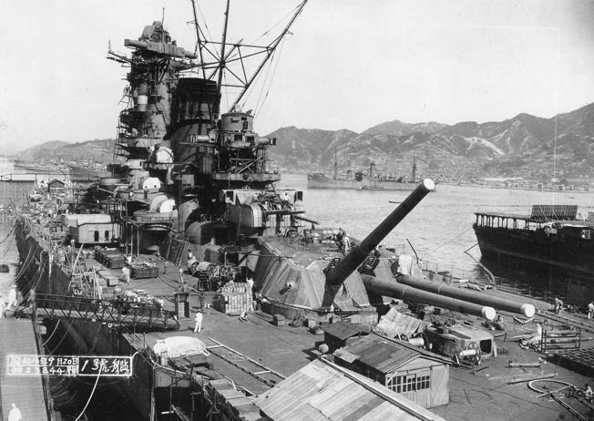 The battleship Yamato is pictured on September 20, 1941, during the late stages of construction at the Kure Naval Base. Her armament included nine 18-inch main guns that could fire 3,200-pound shells a maximum range of 25 miles.
