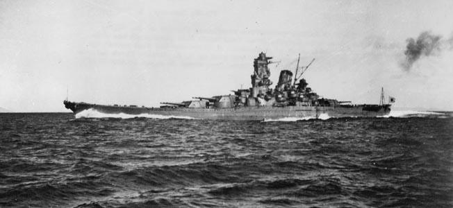 Battleship Yamato running at full power during trials in Sukumo Bay, late 1941.
