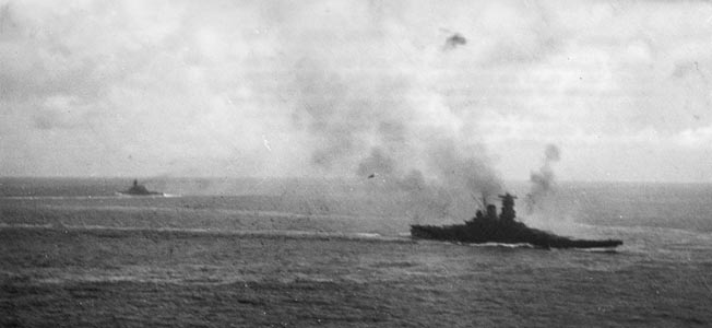 The Yamato's anti-aircraft guns fight off U.S. carrier planes near Samar during the Battle of Leyte Gulf, October 23-26, 1944. Yamato's sister ship, Musashi, was lost during this engagement.