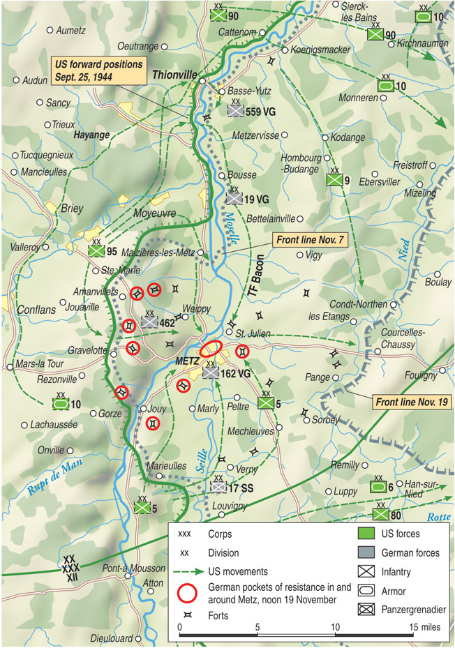 Third Army's advance from the West and attack on Metz was complicated by the hilly terrain, bad weather, German resistance, and the broad Moselle River.