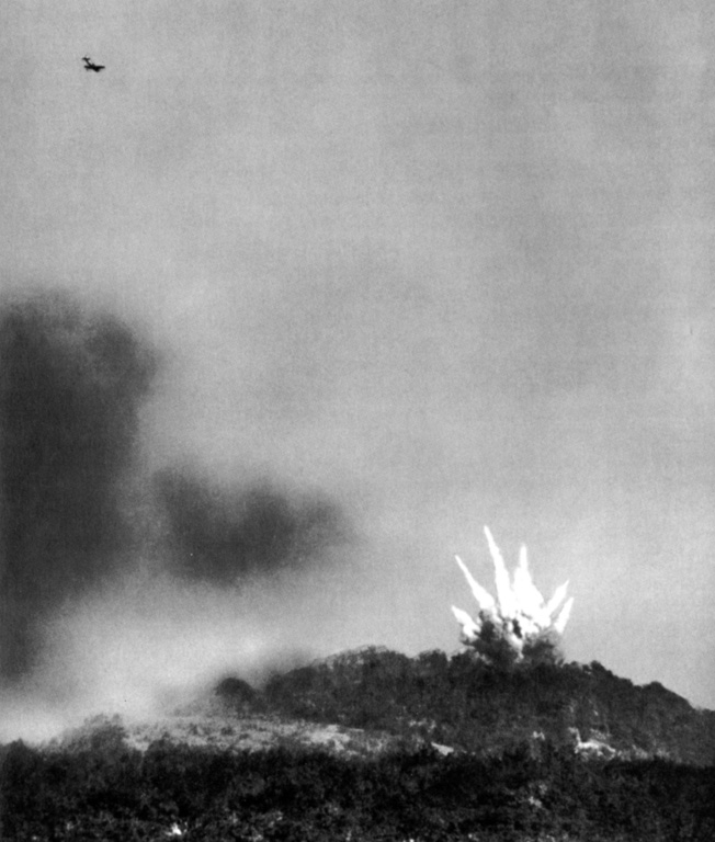 Bombs from a P-47 fighter-bomber of the XIX Tactical Air Command explode atop Fort Driant in the Metz ring of fortifications, September 27, 1944.