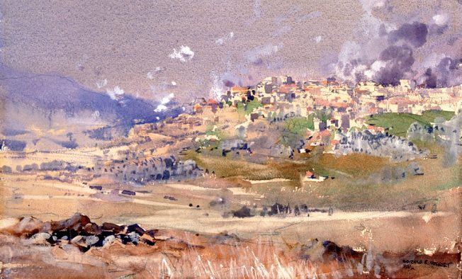 A combat artist captured an Australian barrage against the Vichy-controlled town of Marjayoun, Lebanon, on the morning of June 8, 1941. The Aussies took the town, lost it in a counterattack, then regained it on June 23, 1941.