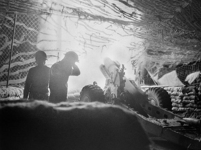British gunners blast enemy positions near Beirut, July 9, 1941.