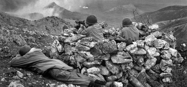 ITALY. Outside Radicosa, near Cassino. January 4th, 1944. The US/Canadian First Special Service Force (a unit trained in mountain fighting), in action against German forces.