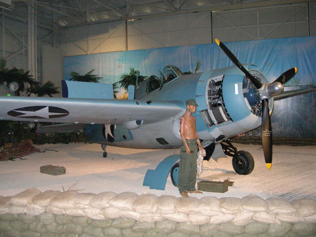 F4F-3 Wildcat on display representing Cactus Air during the Battle of Guadalcanal.
