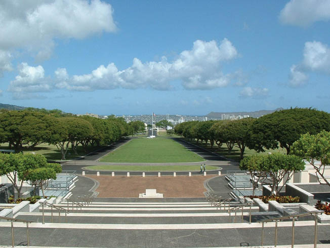 The National Memorial Cemetery of the Pacific occupies much of Punchbowl Crater.