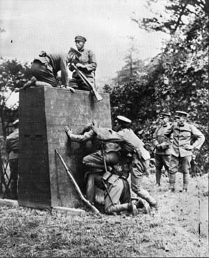Japanese soldiers, shown scaling a wall, trained for up to 14 hours a day, six days a week. Troops were often abused by their instructors if they did not perform well.