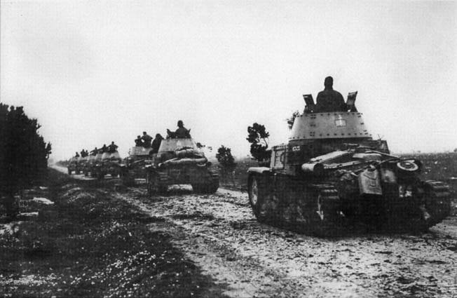 Italian Carro Armato M 14/41 medium tanks move toward the front. Unreliable and easily knocked out, they proved to be no match for the Allies.