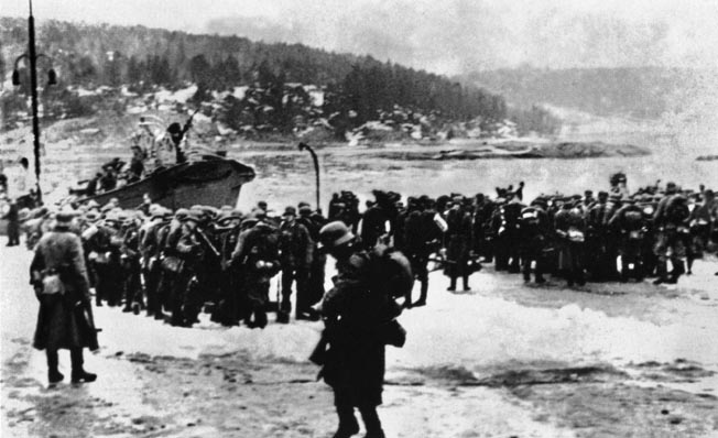 German seaborne troops disembark without opposition in a Norwegian port on April 9, 1940. The small, unprepared Norwegian Army was rapidly overwhelmed by the German onslaught.