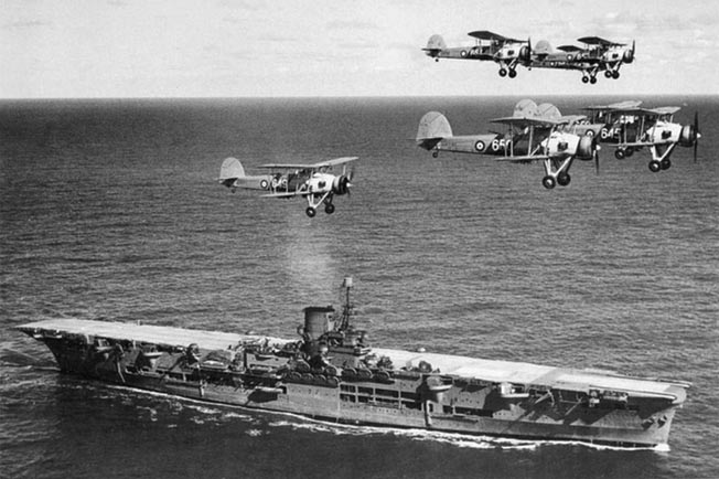 Obsolescent British Swordfish biplanes from HMS Ark Royal, above, flew missions against the Germans at Trondheim airfield and later provided air cover for the Allied embarkation.