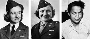 Left to Right: In July 1943, 2nd Lt. Ruth M. Gardiner died in an aircraft crash en route to evacuating patients in Alaska. She was the first USAAF flight nurse killed in a combat theater. Lieutenant Aleda E. Lutz flew 196 missions and evacuated more than 3,500 men. In November 1944, during an evacuation flight, her C-47 crashed, killing all aboard. She posthumously received the Distinguished Flying Cross. U.S. Army Nurse Captain Della H. Raney was the first African American nurse of the U.S. Army during