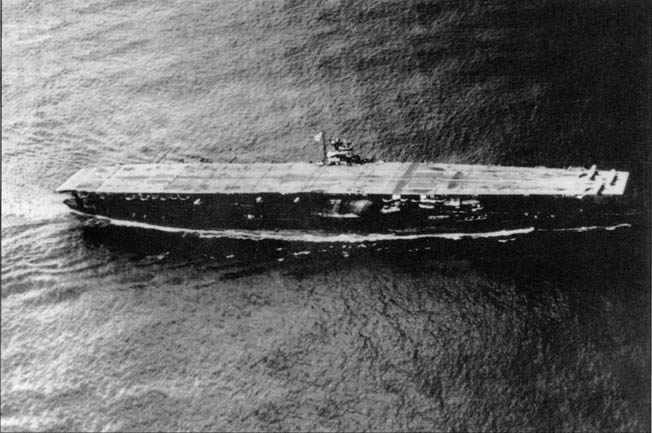 The carrier Akagi, Admiral Chuichi Nagumo's flagship. It was sunk seven months later during the Battle of Midway.