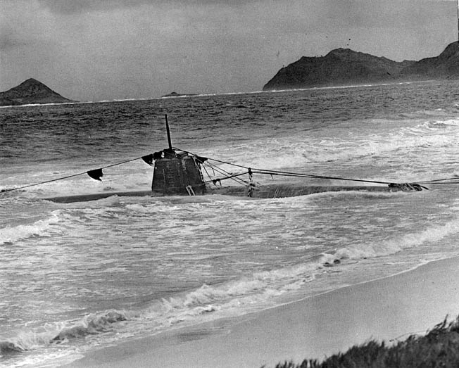 The Japanese midget sub of Ensign Kazuo Sakamaki was damaged during the attack and washed ashore near Bellows Field. Sakamaki was the first Japanese captured by the United States.