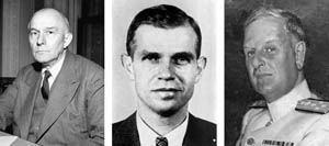 (Left to right): Stanley K. Hornbeck, special adviser to Secretary of State Cordell Hull; Hornbeck's aide and Communist spy Alger Hiss; Admiral Husband Kimmel, C-in-C, U.S. Pacific Fleet.