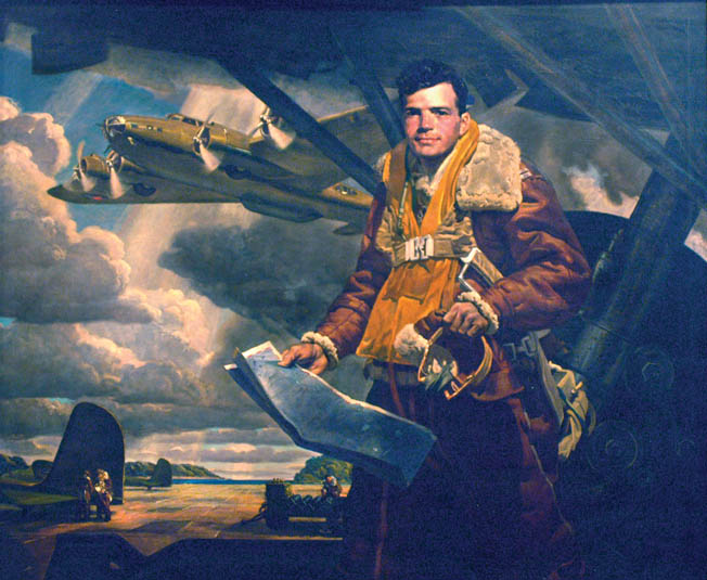 Captain Colin P. Kelly, depicted here in a 1942 painting by Deane Kelle, was killed when his B-17—the first B-17 to be lost in the war—exploded by Japanese fire while on a mission.
