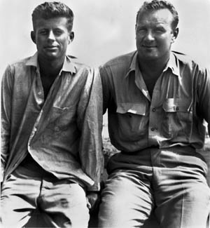 """Lieutenant Lenny Thom (right) with John F. Kennedy, """"somewhere in the South Pacific."""""""