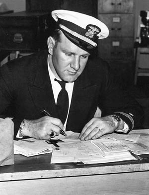Lieutenant Lenny Thom photographed in 1944, hard at work at Melville.