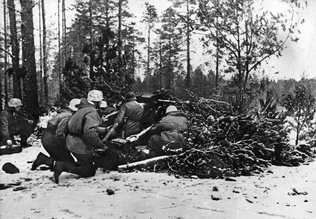 German soldiers man an antitank gun in the vain hope of stopping the overwhelming Soviet force heading their way, January 1945.