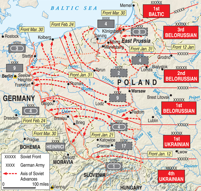 On a front nearly 1,000 miles wide, over 2.2 million Soviet soldiers, 6,400 tanks and assault guns, and 5,000 aircraft attacked westward into Poland in one of history's largest battles.