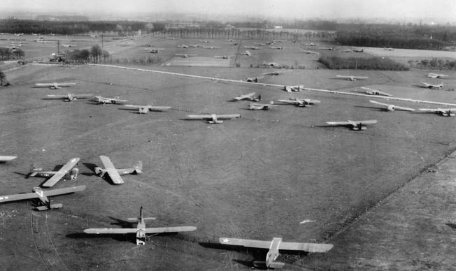 Dozens of Waco gliders fill several fields in the vicinity of Wesel. Soon after combat ended, many of these gliders were retrieved and readied for possible future operations—operations that never took place.