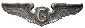 """Tom Warner's glider qualification wings. So hazardous was the job that troops said the """"G"""" stood for """"Guts."""""""