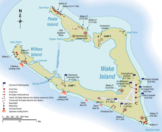 The largest of three islands surrounding a lagoon in the Western Pacific, Wake was strategically located halfway between Guam and Midway. The United States was unable to send reinforcements in time to prevent its capture two weeks after Pearl Harbor.