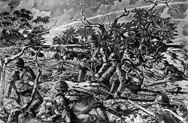 A Japanese illustration shows Japanese troops, some carrying samurai swords, assaulting American positions on Wake Island. The Marines lost 49 killed and two missing, the Navy had three killed, and 70 American civilians died during the siege. After the 15-day battle, 1,600 American military and civilian personnel were taken prisoner.