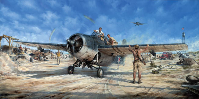 In this 1999 painting, The Magnificent Fight by aviation artist John Shaw, Marine Captain Henry Elrod (in cockpit) confers with fellow pilots John Kinney (in white t-shirt) and Frank Tharin before Elrod bombed and sank the destroyer Kisaragi.