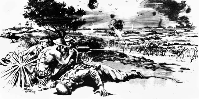 American machine gunners hold off the invading Japanese force. While inaccurate in some details (the artist invented the barbed wire for dramatic effect; no such obstruction existed on Wake Island), it does capture the desperate nature of the Marines' last stand.