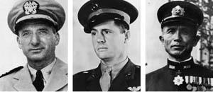 Left to right: Winfield S. Cunningham commanded U.S. forces on Wake; Marine aviator Henry Elrod; Admiral Sadamichi Kajioka headed Japan's Wake Island invasion force.