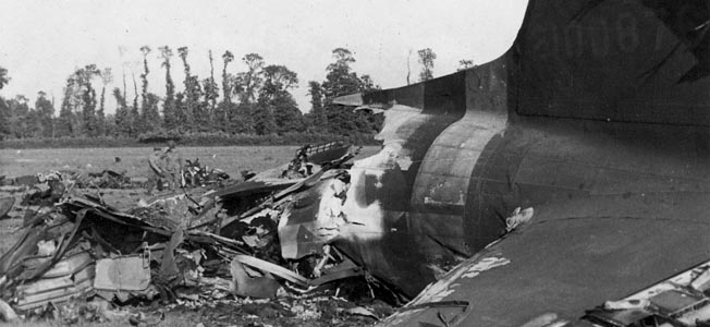 All that remained of a C-47 that crashed and burned in Normandy. A number of paratroopers recalled barely escaping their transports when they were hit by enemy flak or seeing other transports going down with all aboard.
