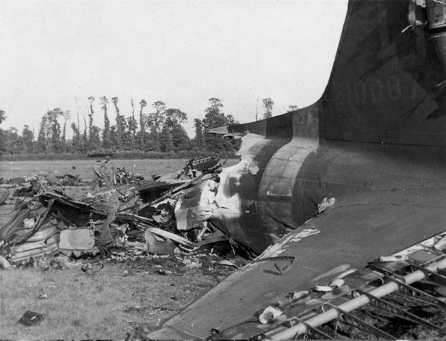 All that remained of a C-47 that crashed and burned in Normandy.