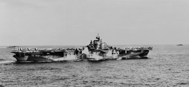 The USS Hornet, home to Crosby's next squadron, VF-17, as shown in September 1944. After the first carrier Hornet (CV-8) was sunk in October 1942, a second flattop was named Hornet (CV-12) to carry on the heritage.