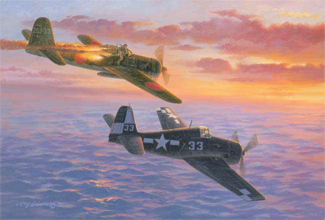 "In a dramatic painting by Roy Grinnell, Lieutenant (j.g.) Willis Hardy, a member of Crosby's VF-17 Squadron from the carrier USS Hornet, flames a Japanese kamikaze plane that was on its way to attack the American naval task force off Okinawa, April 6, 1945. The Hellcat's distinctive ""white checkerboard"" markings show it belongs to the USS Hornet (CV12)."