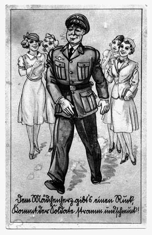 """This postcard speaks to the """"girl magnet"""" effects of a man in uniform. German uniforms are most often seen in black and white images but were actually produced in a wide spectrum of colors with an equally large range of collar tabs, patches, emblems, badges, medals, pins, and other detailing. Depending on the branch of the military, the identifying color system (Waffenfarber) of shoulder straps alone included carmine, bright red, white, gold yellow, lemon yellow, copper brown, light green, grass green, cornflower blue, light blue, black, gray-blue, light gray and rose pink, silver, and gold."""